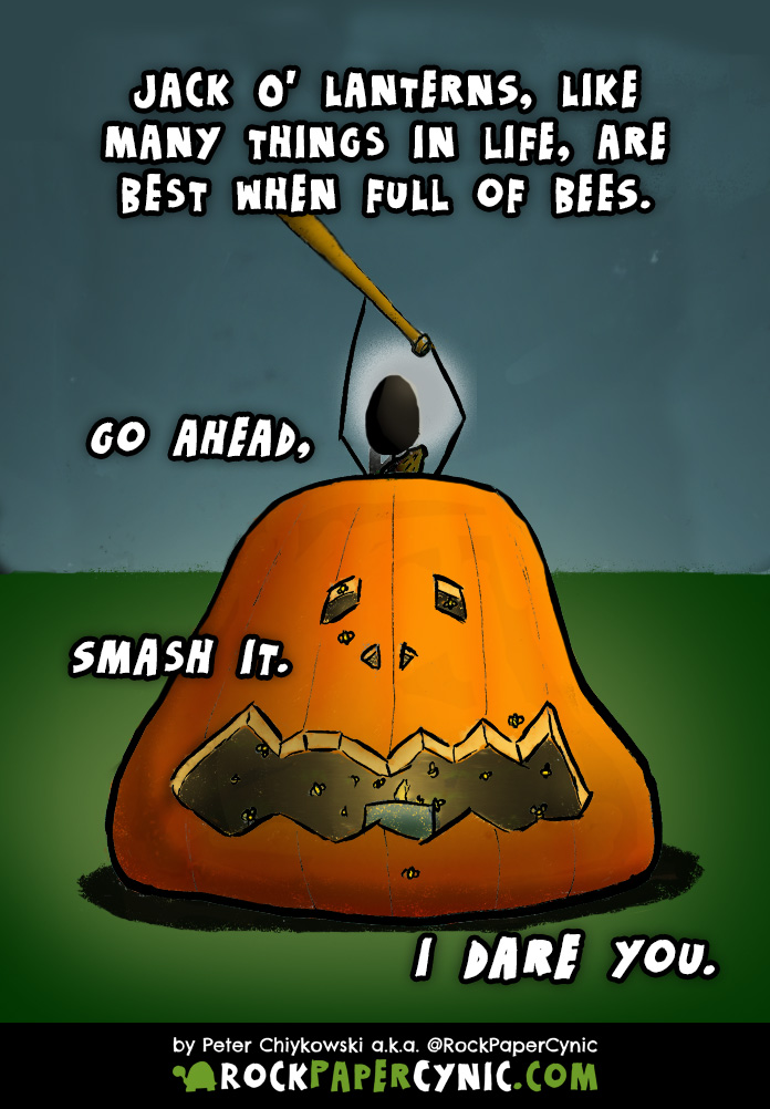 we provide a bee-based prank for getting back at people who smash jack'o'lanterns on Hallowe'en