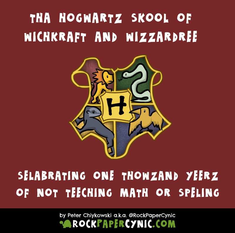 we explain why most graduates of the Hogwarts School of Witchcraft and Wizardry are functionally illiterate (this probably includes Harry Potter)