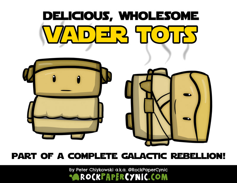 Darth Vader's offspring are featured as a delicious and nutritious Star Wars tater tot snack