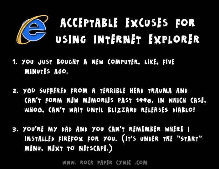 we go over the three acceptable excuses to STILL be using Internet Explorer when there's a ridiculous number of actually useful Internet browsers to choose from