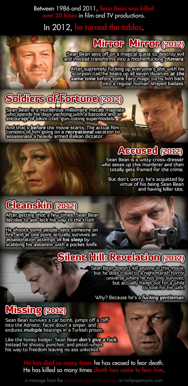 we recount the triumph of the Save Sean Bean campaign and celebrate Sean Bean's surviving 2012 like a fucking champ