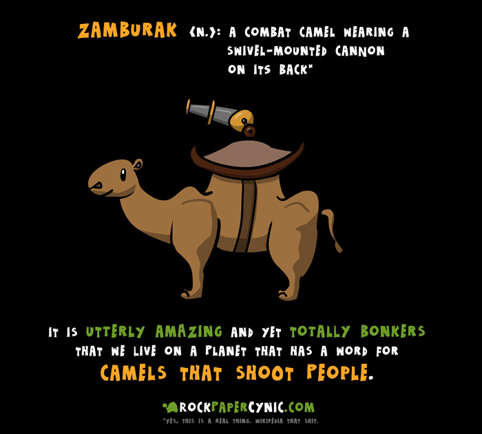 we explain the zamburak, a cannon-wielding camel THAT IS A FOR REALS THING in language and history