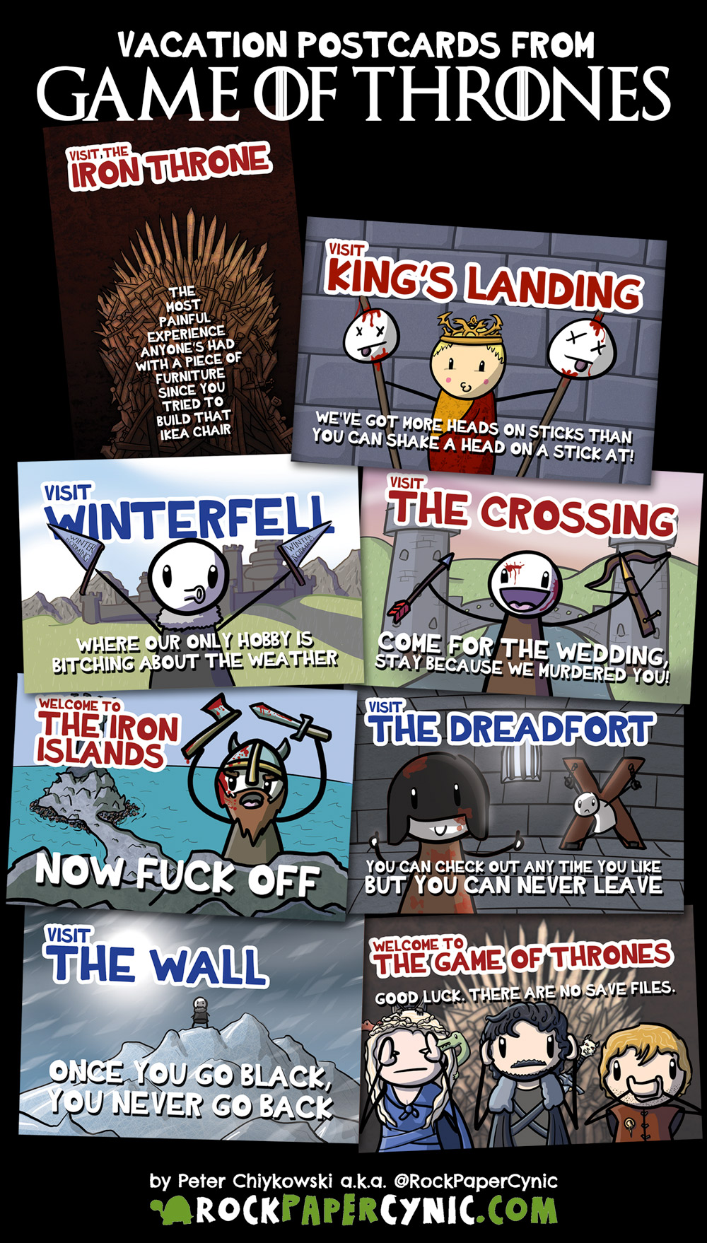 seven Game of Thrones postcards you can send to your friends on your next vacation in Westeros!
