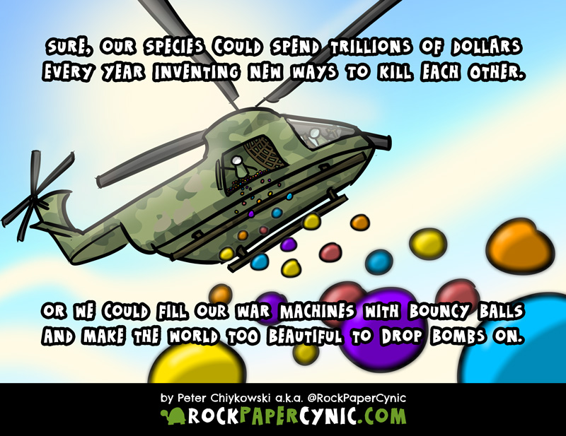 in this comic, we propose an alternate expenditure for the world's military budget